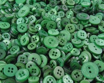 Forest Green Small Mixed Buttons - Bulk/Job Lot/Scrapbooking/Card Making/Crafting