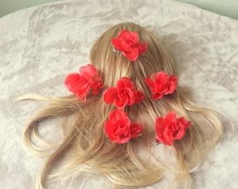 Red Rose Bridal Hair Clip Set,Rose Wedding Hair Clip Set,Rose Hair Accessories,Floral Hair Clip,Bridesmaid Rose Hair Clip,Flower Hair Clip