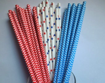 50 4th of July Drinking Paper Straws- Chevrons & Stars- 4th of July Party Paper Straws - Independence Day Picnic Memorial Day Red White Blue