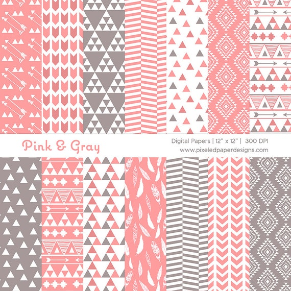 Pink Tribal Digital Paper - Aztec Inspired Ethnic Patterns for Scrapbooking, Background, etc | Commercial License Available.
