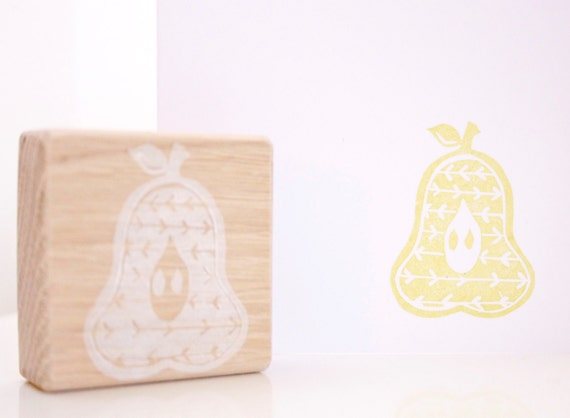 Summer fruits set pear stamp strawberry apple