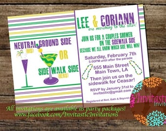 Mardi Gras Theme Couples shower/ Engagement Party - New Orleans Theme, Mardi Gras, Carnival Themed Wedding Party Invitation
