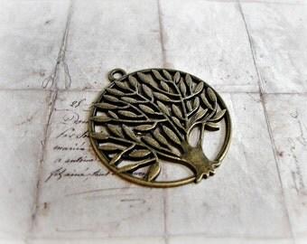 2 Antique Bronze Tree Of Life Large Pendants
