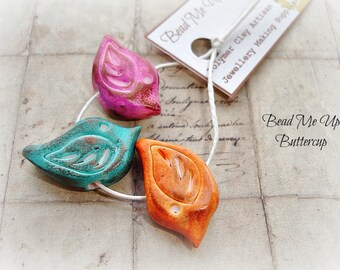 Set Of 3 - Bronzed Turquoise, Lilac Pink & Orange Polymer Clay Birds