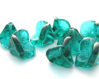 Emerald 10x12mm Flared Bell Flower Czech Glass  Beads 10pc #2719