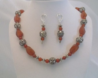 Carnelian Swirl and Silver 19 inch Necklace and Earrings Set.  One of a kind.  Free Shipping.