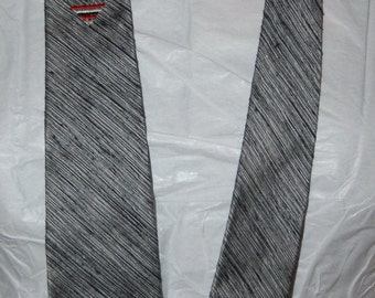 vintage skinny tie, 50s 60s neck tie, silk & cotton narrow tie, grey red, national shirt shop