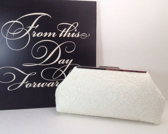 Ivory Sequin Lace Clutch Purse with Silver Tone Frame, Bridal Clutch, Wedding, Special Occasion, Mothers Day Gift,  Bridal Shower Gift