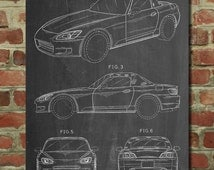 Honda S2000 Patent Poster, Convertible, Car Wall Art, 90's Art, Teen Room Decor, Car Enthusiast