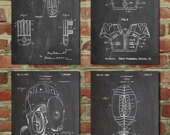 Football Patent Posters Group of 4, Football Gifts, Football Cleats, Football Pads, Leather Helmet, Football Decor, Sports Decor, PP1183