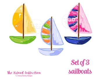 Preppy Sailboat clip art, Preppy boat clip art - Original Art download, preppy clip art, The Island Collection