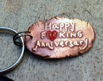 7th Anniversary Gift Happy Key Chain Copper Seven Year Under 25 Wedding