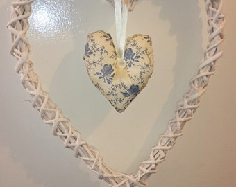 Large shabby chic hanging heart decoration 15.5 x 12.5 white and blue valentines uk seller