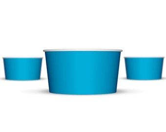 100 6 oz Blue Paper Hot/Cold Ice Cream Cups