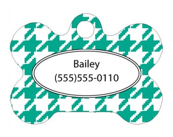 Pet Tag, Dog Tag, One Sided Personalized Pet ID Tag, Bone Shaped Pet Tag, Aluminum, Teal White Houndstooth, Houndstooth Pet Tag,