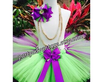 Handmade purple and lime green tutu skirt, Princess Tiana inspired tutu skirt, birthday tutu, wedding, pageant, photo shoot