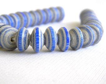 Paper Bead Jewelry Supplies - Paper Beads - Hand painted - Lot of 32 - #153