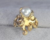 "14K Yellow Gold Pearl and Diamond ""Octopus"" Ring"