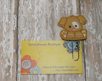Tan Puppy Dog with White Spot felt paperclip bookmark, felt bookmark, paperclip bookmark, feltie paperclip, christmas gift, teacher gift