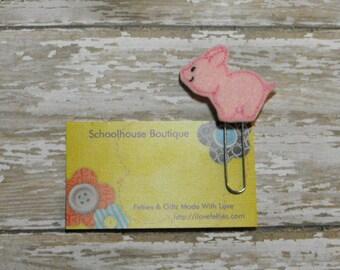 Pink Pig felt paperclip bookmark, felt bookmark, paperclip bookmark, feltie paperclip, christmas gift, teacher gift