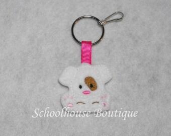 White Puppy Dog Felt Zipper Pull, Felt Keychain Fob, Felt Key Ring, Felt Key Fob, Purse Accessory, Luggage Tag