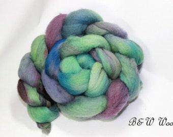Merino Roving, hand painted, wool roving, 22 micron, felting, spinning, merino top, Mermaid