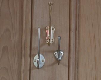 set of three metal coat hooks wall storage coat hook hallway storage - Decorative Coat Hooks