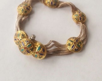 Bracelet Enamel Medallion Multiple Wheat-chain Sterling Silver Collectors Piece or Perfect Gift