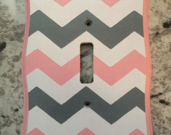 Light Plate Outlet Cover Chevron Zig Zag Gray White Pink Nursery Bedding Room Decor