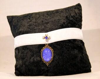 The Blue Czarina white velvet choker blue glittered cameo pendant