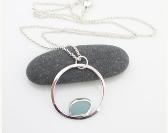 Sea glass necklace. Sea Glass Pendant. Maine Jewelry. Beach glass jewelry. Circle pendant. Bezel sea glass.