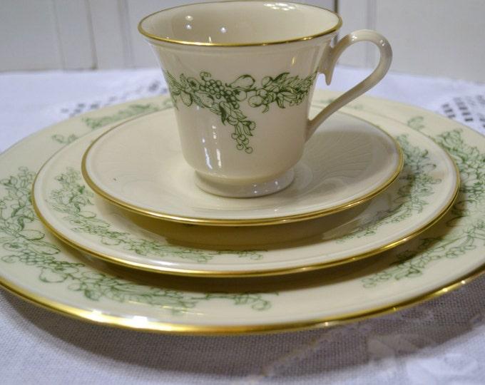 Lenox Special China Place Setting Cream Green Fruit Design Gold Rim Vintage China USA PanchosPorch