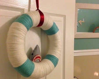 Shark Yarn Wreath - Shark Wreath - Boys Wreath - Girls Wreath - Kids Wreath - Kids Bedroom Decor - Shark Felt Yarn Wreath - Felt Yarn Wreath