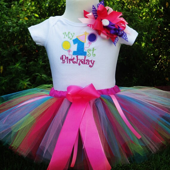 1st Birthday Girl Outfit,Fun Colors One Year Old Girl Birthday Outfit, Baby Girl 1st Birthday Tutu Outfit, 1st Birthday Tutu Outfit