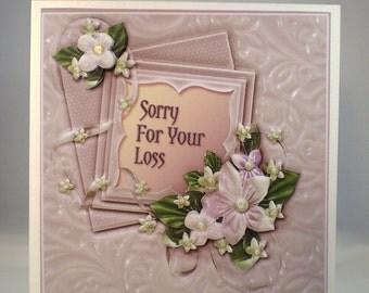 Handmade Decoupage,3D Sympathy Card,