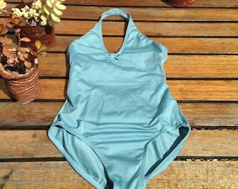 70's Style 90's Vintage Powder Blue Halter Top One Piece Bathing Suit XS Lolita