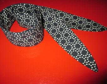 Pinup Rockabilly Narrow Headband Head Scarf Hair Wrap Black Polka Dots Stars Cotton