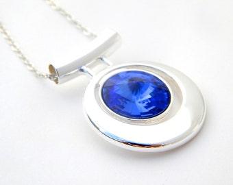 Sapphire Blue Bridesmaid Necklace, Dark Blue Bridesmaid Jewelry Sets, Swarovski Crystallized Elements, Crystal Bridesmaid Gift Set