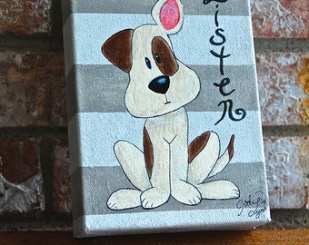 "5x7 Wrapped Canvas Striped Gray and White Doggie Canvas, ""Listen"""