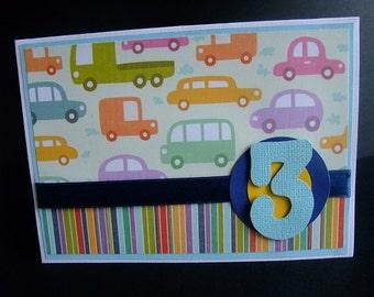Birthday Boy Card, Boy Card, Card, Birthday Card, 3 Years Card, Card,  3 Years Boy Card, Cars Card, Card for Boy, Cars