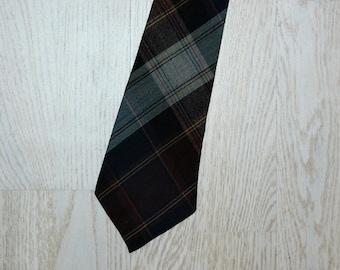 Vintage Necktie Wool Grenville Necktie Mens Tie green brown Necktie
