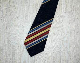 Vintage necktie.Palmyru dark blue necktie with coloured stripes Man accessory