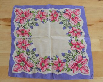 Vintage hankie hanky handkerchief with pink purple green flowers and buds