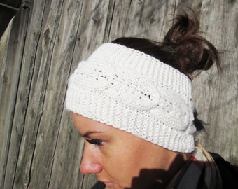 BLACK FRIDAY SALE! knitting Headband, white with Cable headband, Earwarmer Head Wrap , Hat Girly Romantic