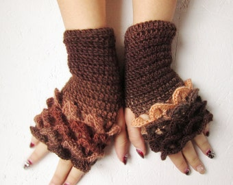 dragon scale gloves womwn fingerless brown Fingerless Gloves Crocheted Arm Warmers crocodile stick gloves women gift accessories