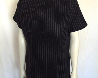 Navy Blue Pinstripe  Short Sleeve Shift Dress Size 2X Plus