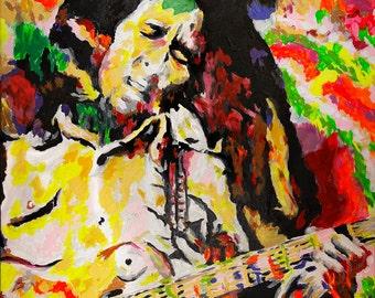 Bob Marley Painting, Reggae Art Print, Mid Century Modern Wall Art, Original Art Print