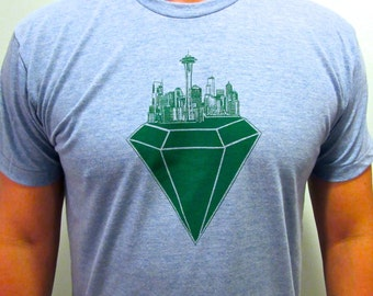 Seattle emerald city mens shirt. American apparel T-shirt. I love seattle T.