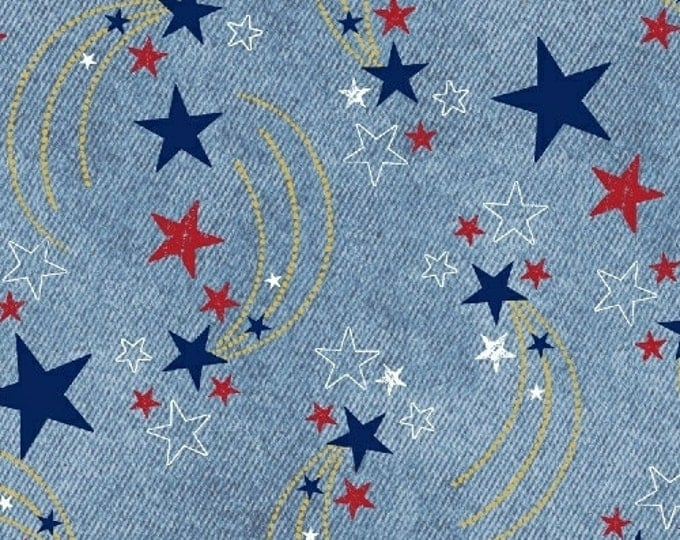 One Yard U.S.A. - Shooting Stars in Light Denim - Cotton Quilt Fabric - Whistler Studios and Windham Fabrics - 40326M-2 (W2610)