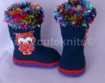 Hand Knitted baby Girls Booties